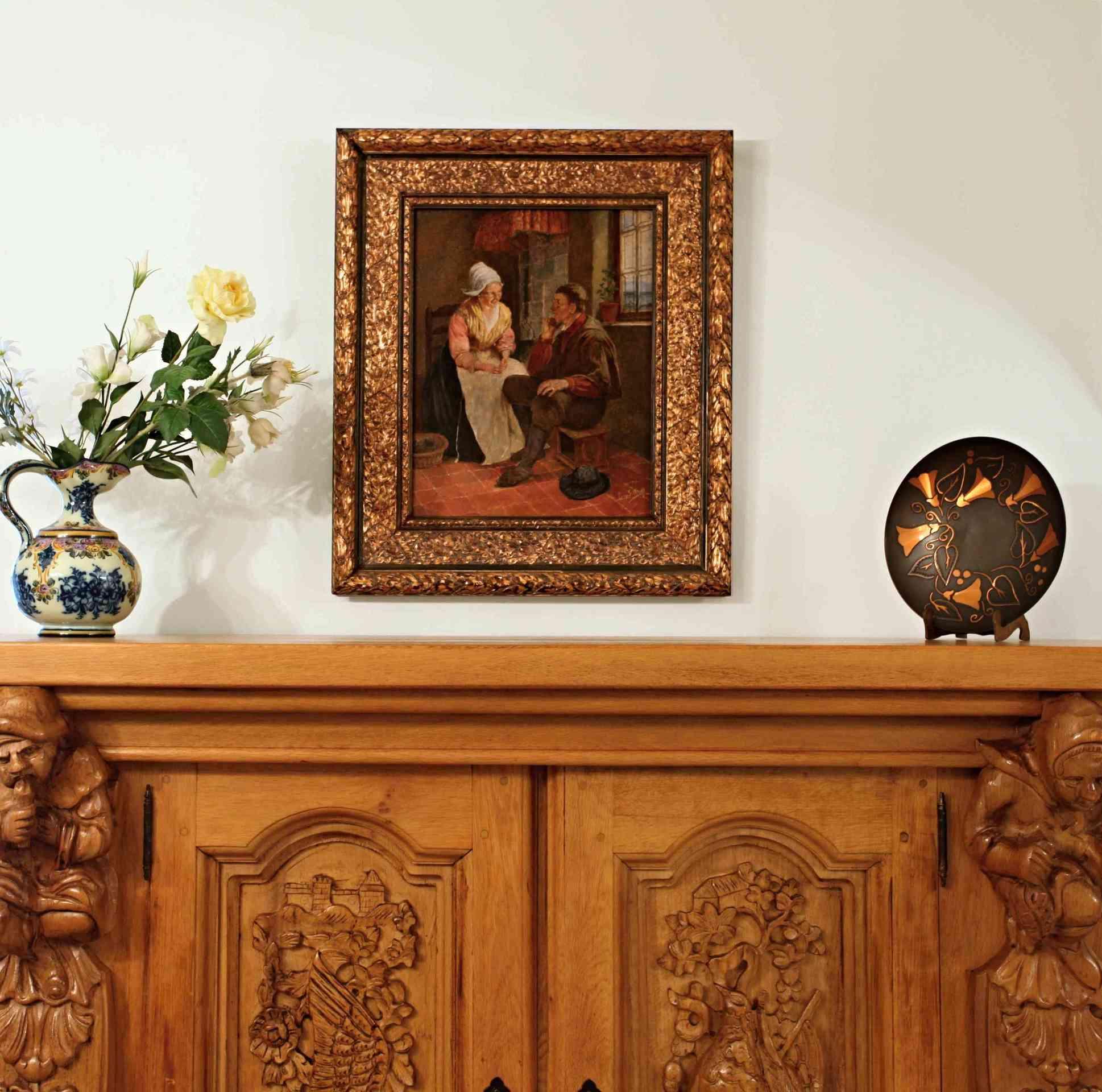 Holländische Malerei Im Stil Der Renaissance. Öl Auf Holz